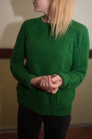Zara Pull à gosses mailles vert forêt tissu mixte