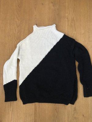 Zara Knit Maglione di lana bianco-nero