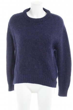 Zara Knitted Sweater blue violet weave pattern casual look