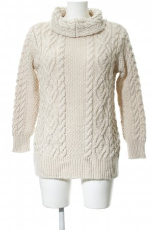 Zara Strickpullover creme Zopfmuster Casual-Look