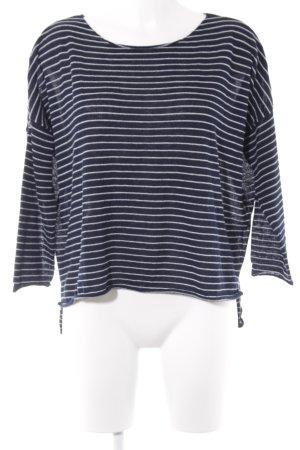 Zara Pull tricoté bleu foncé-blanc motif rayé style marin