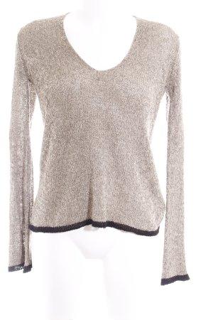 Zara Maglione lavorato a maglia marrone-grigio-nero puntinato stile casual