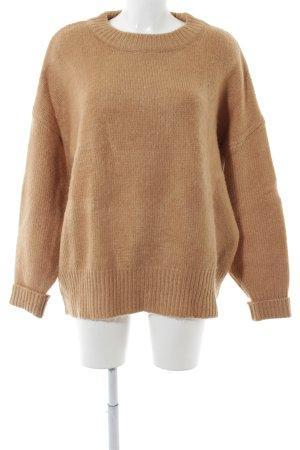 Zara Maglione lavorato a maglia marrone chiaro stile casual
