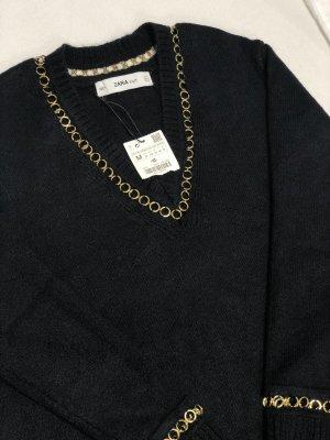 Zara Pull tricoté noir-orange doré