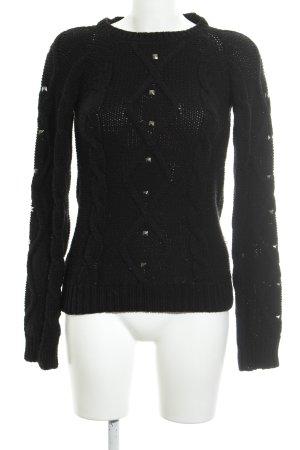 Zara Jersey de punto negro-color plata punto trenzado look casual