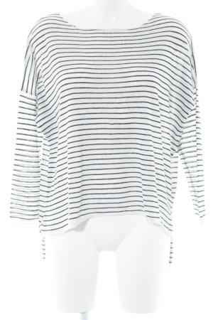 Zara Strickpullover weiß-schwarz Streifenmuster Casual-Look