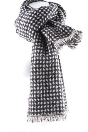 Zara Bufanda de punto negro-crema estampado a lunares look casual