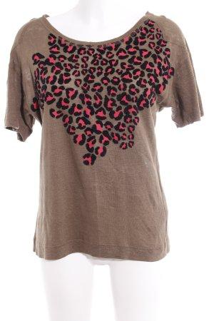 Zara Camisa tejida estampado de leopardo look casual