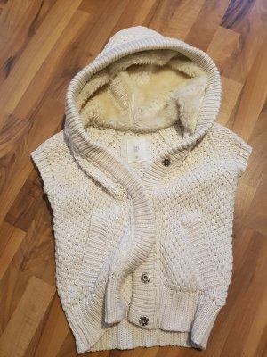 Zara Gilet tricoté crème-beige clair