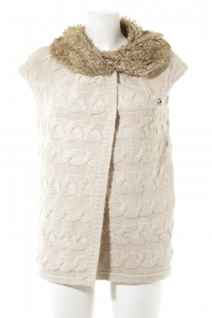 Zara Chaleco de punto beige-marrón punto trenzado