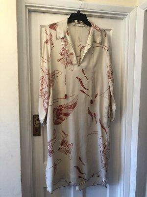 Zara Vestido tipo túnica blanco puro-rojo tejido mezclado
