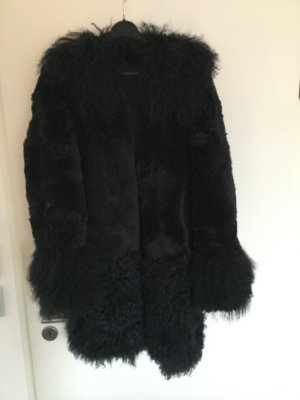 Zara Manteau de fourrure noir fourrure