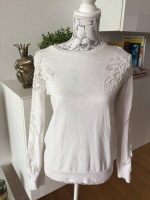 Zara Sweater Pullover Gr S weiß mit Spitze