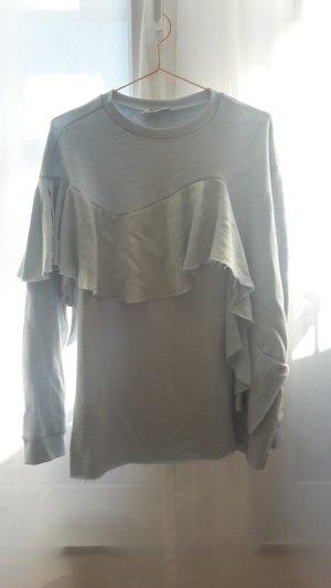 ZARA Sweater Pullover Hellblau Volant