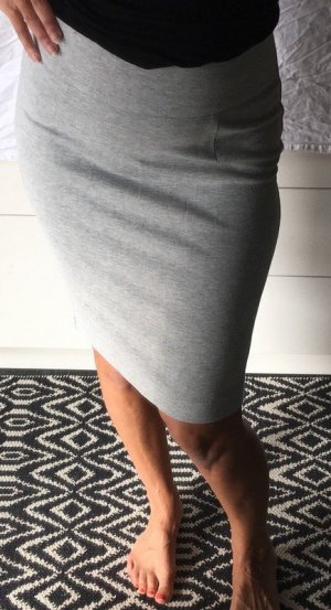 Zara Sweatrock Bleistiftrock high waist grau meliert Rock Sweatstoff schlitz zip
