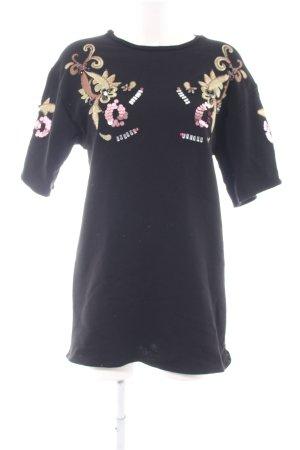 Zara Sweatshirt schwarz-goldfarben abstraktes Muster Casual-Look