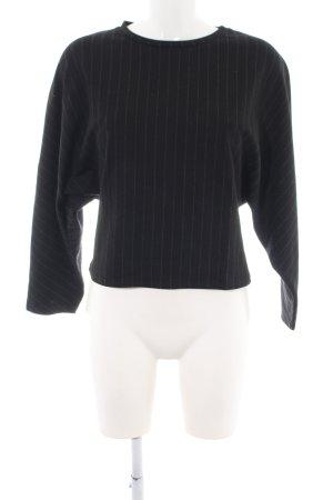 Zara Sweatshirt schwarz-creme Streifenmuster Casual-Look