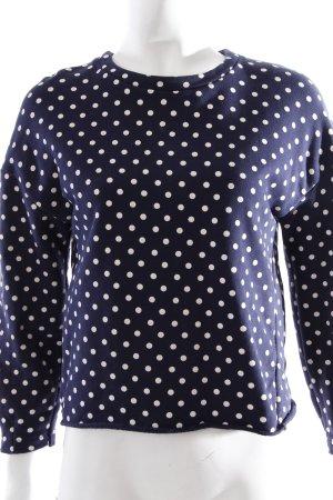 Zara Sweatshirt dunkelblau-weiß Punktemuster klassischer Stil