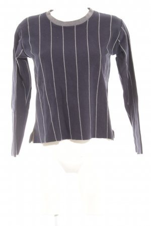 Zara Sweatshirt dunkelblau-wollweiß Streifenmuster Casual-Look