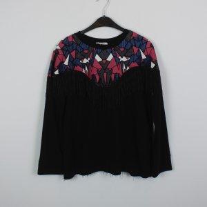ZARA Sweatshirt Gr. S schwarz Fransen Glitzer Muster (18/10/140)