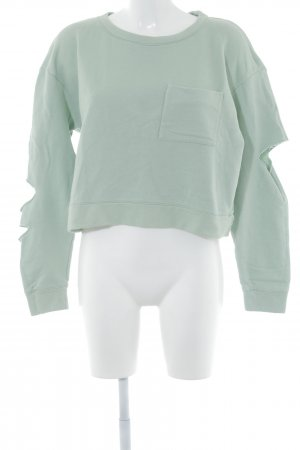 Zara Sweatshirt hellgrün Destroy-Optik
