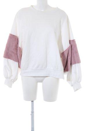 Zara Sweatshirt weiß-blasslila Casual-Look