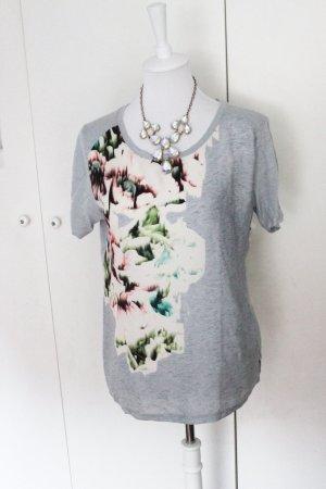 Zara T Shirt Basic Grau Floral Print Blumen L