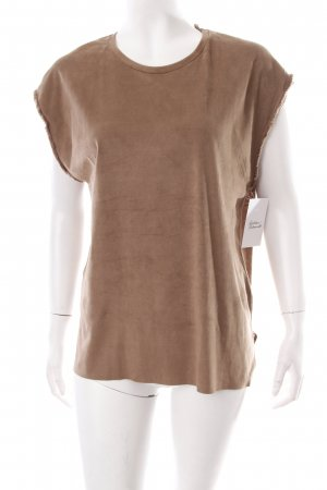 Zara T-Shirt beige Leder-Optik