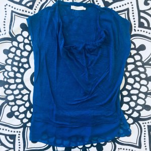 Zara T-Shirt blau Gr. S kurzarm Shirt Transparenz