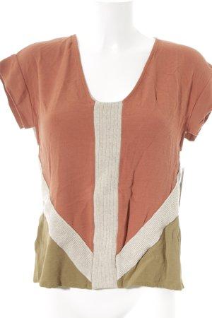 Zara T-shirt crème-rouille style décontracté