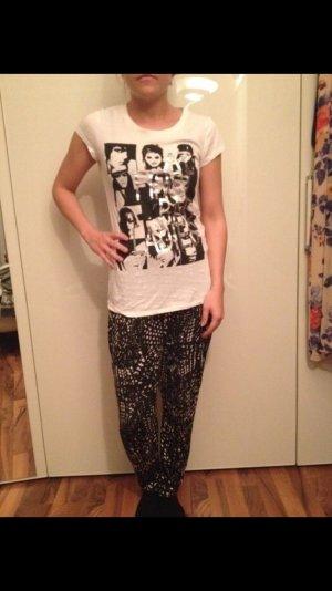 Zara Print Shirt white-black
