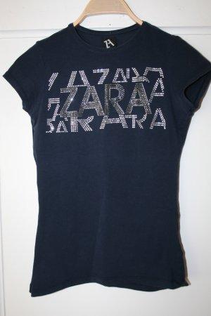 ZARA T-Shirt dunkelblau mit steine gr.S