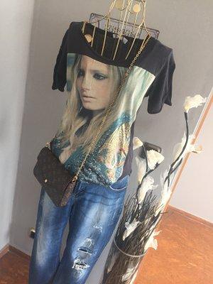 Zara T- Shirt Gold Glitzer Frau Gr. M