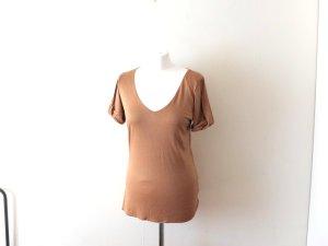 Zara T-Shirt Gr. L 38 40 beige V Neck glänzend satin nude camel gold