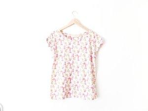 Zara T-Shirt Gr. M 38 40 nude Blumen Muster print oversized trend
