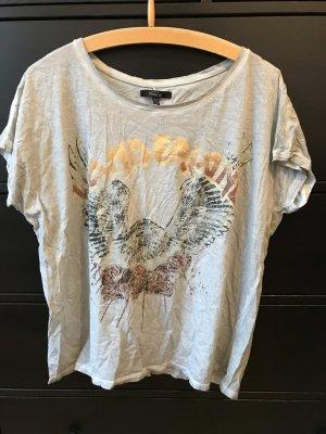 ZARA T-Shirt grau mit Motiv M 38 Oversized