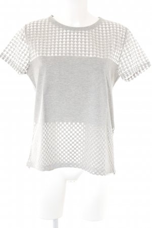 Zara T-Shirt grau Zackenmuster Casual-Look