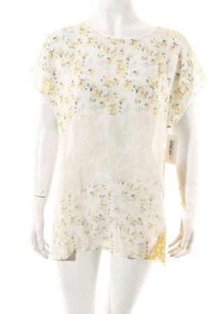 Zara T-Shirt hellbeige-dunkelgelb florales Muster Häkel-Detail