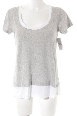Zara T-shirt gris clair-blanc style décontracté