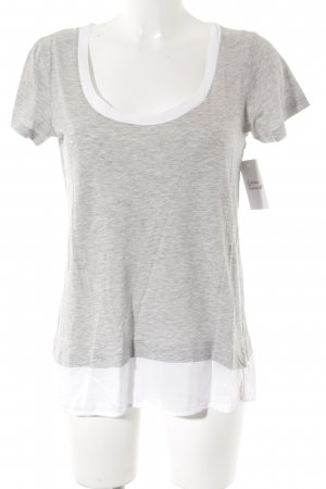 Zara T-Shirt hellgrau-weiß Casual-Look