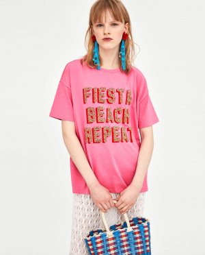 Zara T-shirt multicolore coton