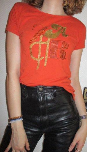 Zara T Shirt Longshirt orange Kurzarm Nieten Schriftzug goldfarben Rundhals EUR L 38 40 M 34 36