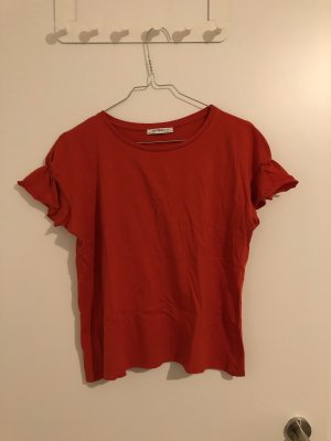 Zara T-Shirt mit Rüschen an den Armen