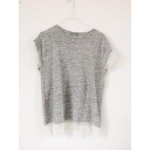 Zara T-Shirt mit Spitze grau meliert M L 38 40 Shirt Rundhals Kurzarm wie Neu weiße Spitze Leinen