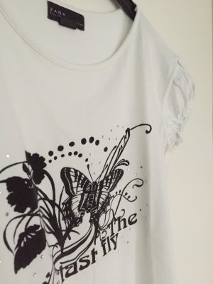 Zara T-Shirt mit zauberhaftem Schmetterlingsprint, Gr. L