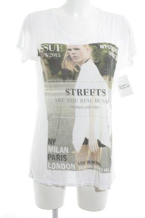 Zara T-Shirt Motivdruck Glitzer-Optik