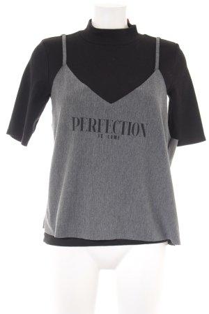 Zara T-Shirt schwarz-grau Motivdruck Casual-Look