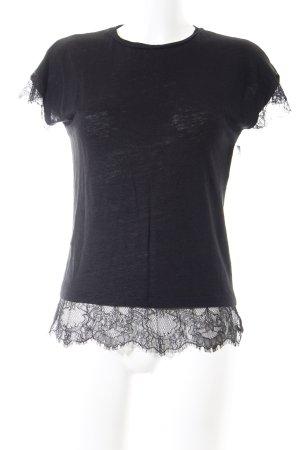 Zara T-Shirt schwarz Spitzenbesatz