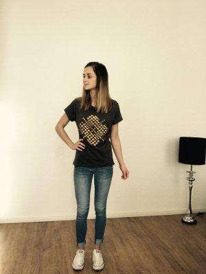 Zara T-Shirt Shirt Top Khaki Grün Golden Nieten