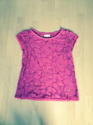 Zara t-shirt spitze nieten gold pink gr. 38